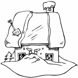 Snow Shoveling Coloring Page