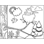 Birds coloring pages for Bird nest coloring page