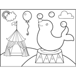 Circus and carnival coloring pages for Circus seal coloring page
