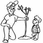 Man With Boy Planting Tree