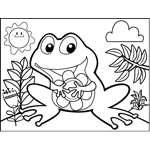 Happy Frog with Flower