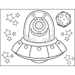 Science fiction coloring pages for Flying saucer coloring page